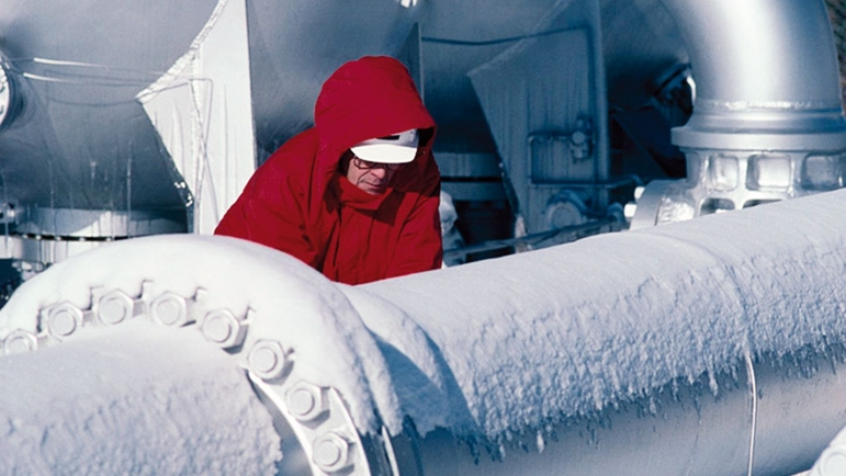 Gas pipeline with snow and ice